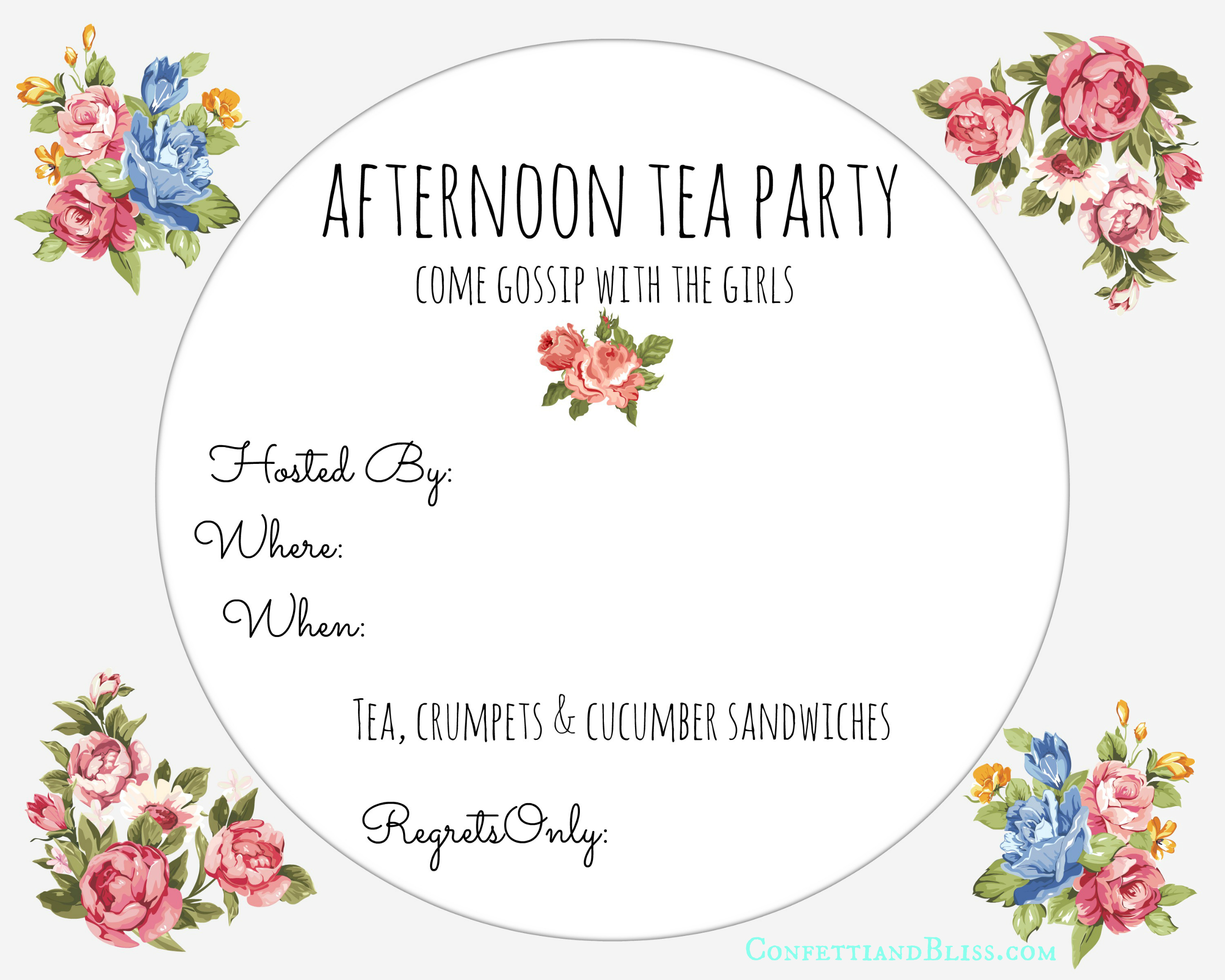 Tea Party Invite Printable | Confetti & Bliss