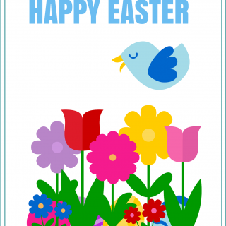 Happy Easter Blue Bird Printable