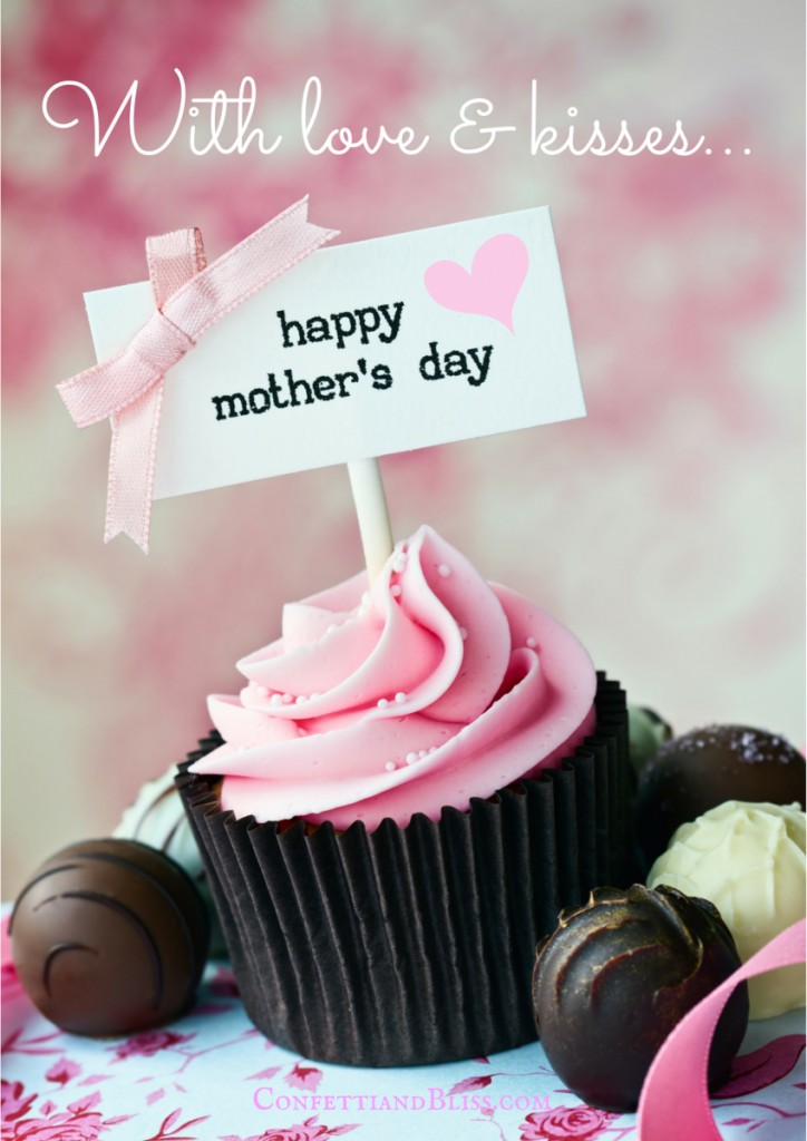 A cupcake with a Mother's Day Card