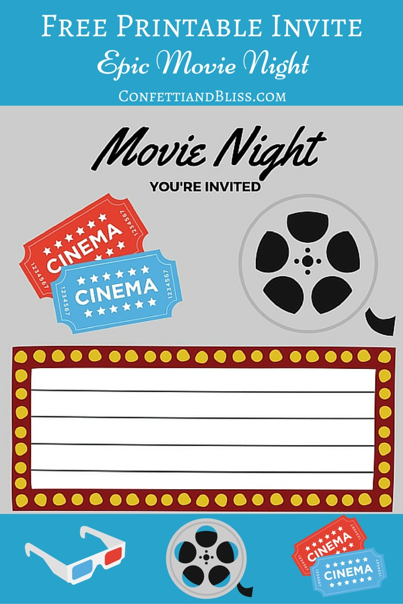 image regarding Free Printable Movie Tickets called Cost-free Printables Printable Video clip Night time Invite