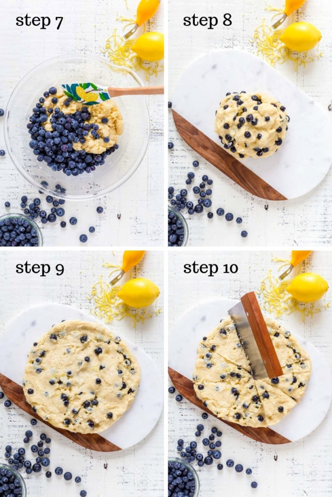 Four images showing recipe steps for making blueberry scones.