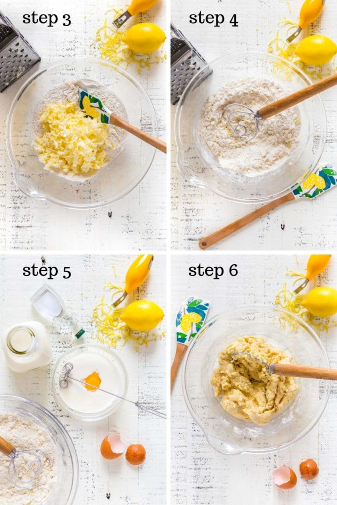 Four images showing the recipe steps for making blueberry scones.