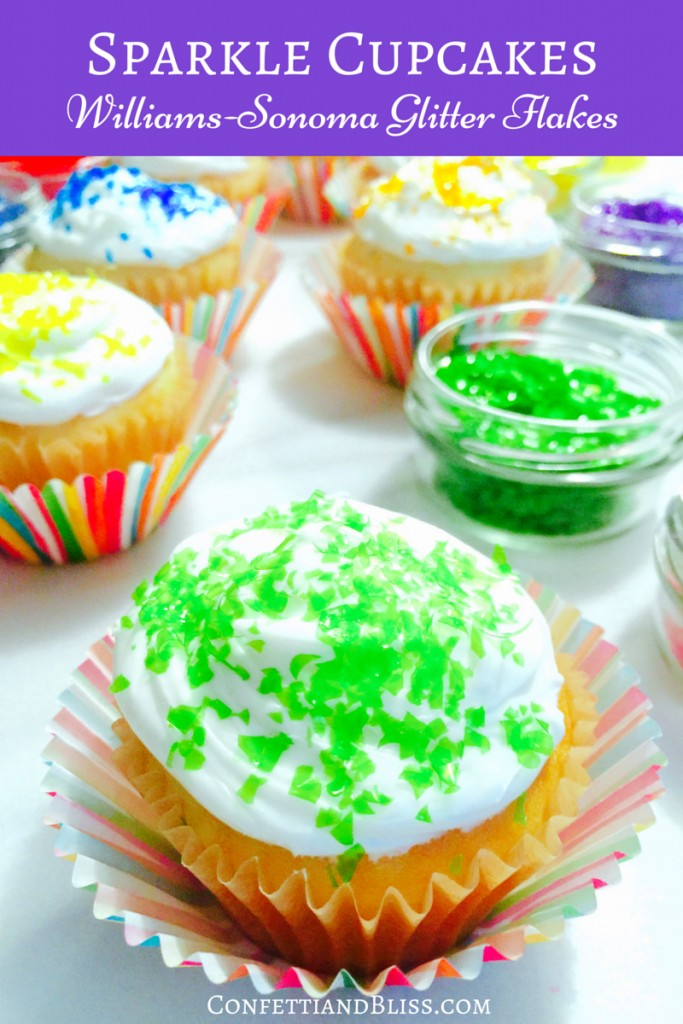 How to Make Sparkle Cupcakes with Williams Sonoma Glitter Flakes | Celebrate Spring