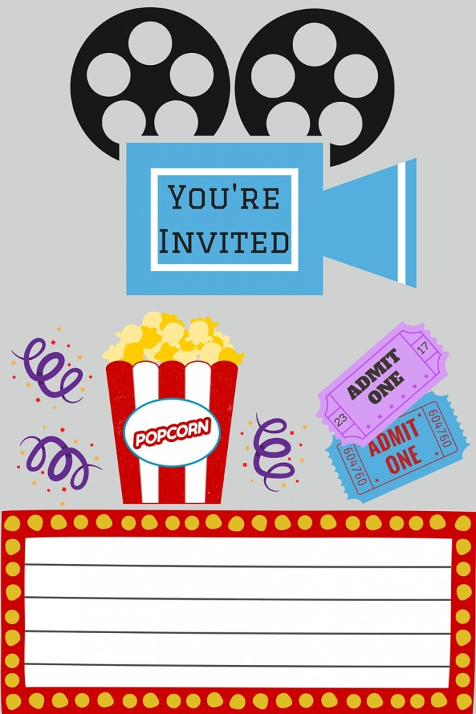 image about Free Printable Movie Ticket Invitations identify Cost-free Printables Printable Online video Evening Invite