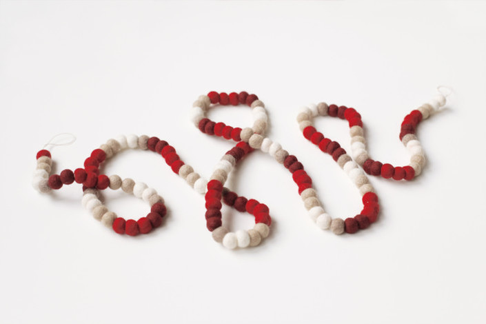 Minted Holly Felt Garland for Holiday Table with Peppermint Patties
