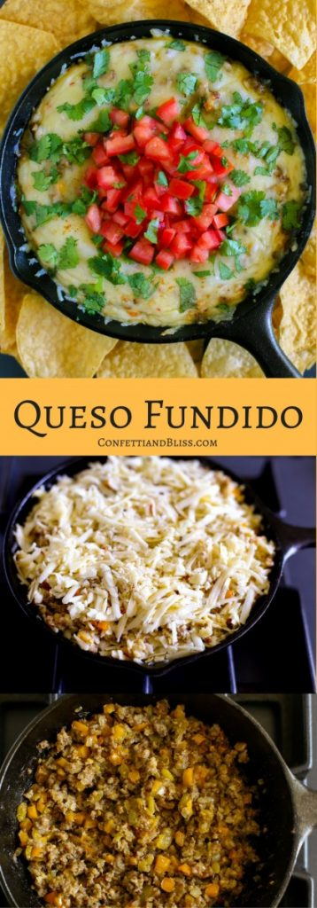 Queso Fundido garnished with fresh tomatoes and cilantro