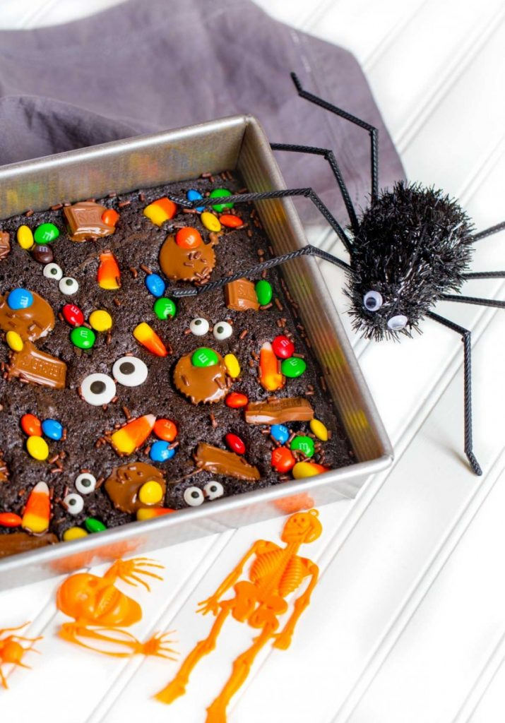 Brownie recipe made with leftover Halloween candy.