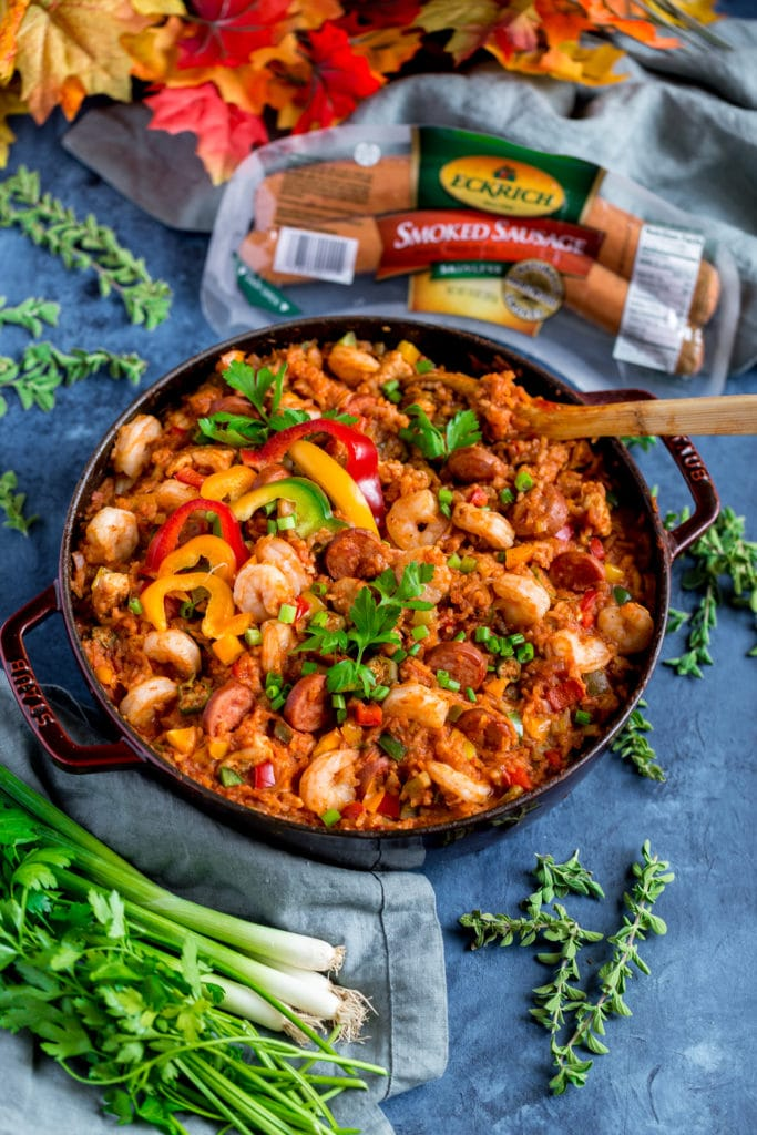 Authentic New Orleans Jambalaya in a cast iron skillet.
