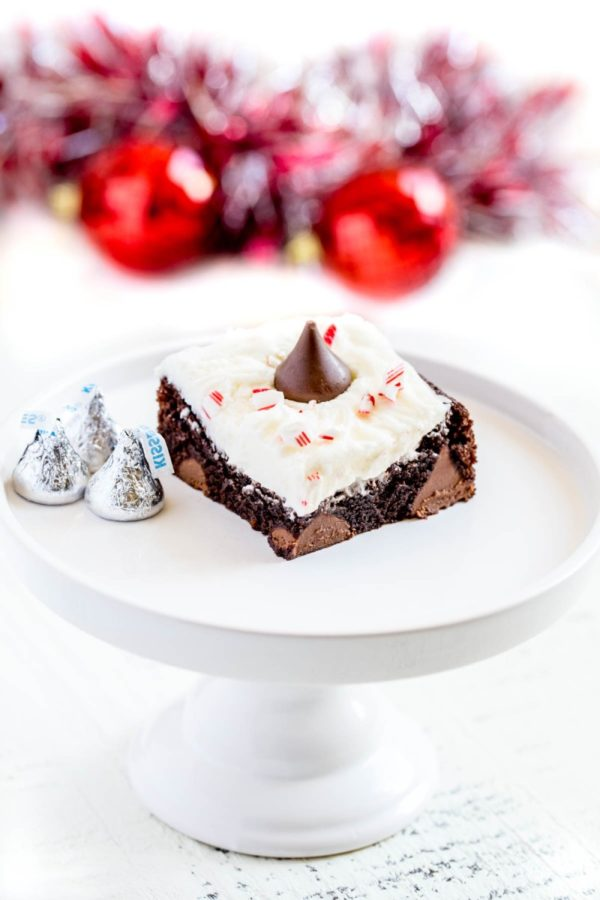 Peppermint Patty Brownies with Hershey's Kisses