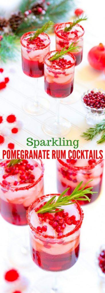 Sparkling Pomegranate Rum Cocktails