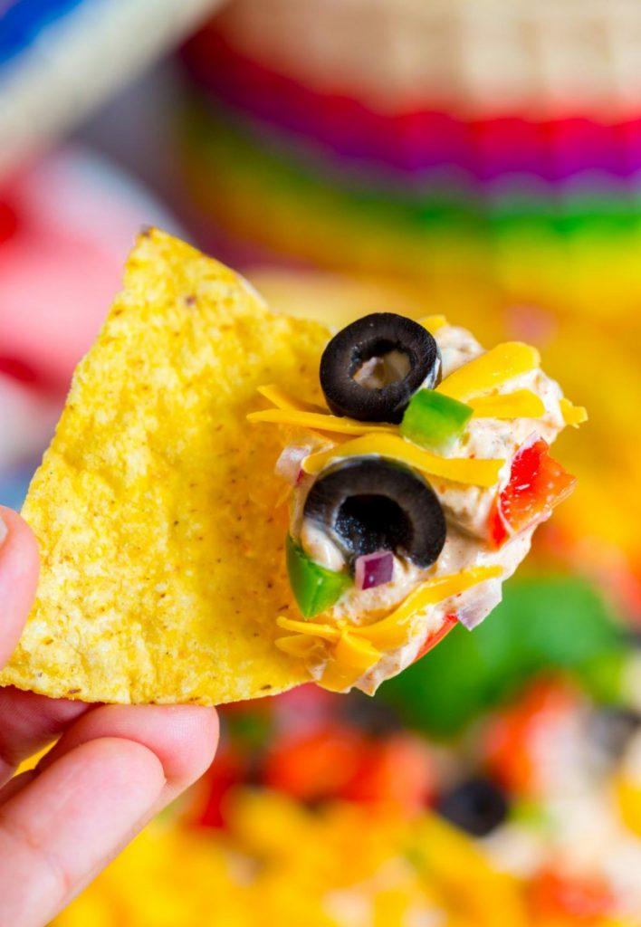 Quick and easy cream cheese taco dip recipe.