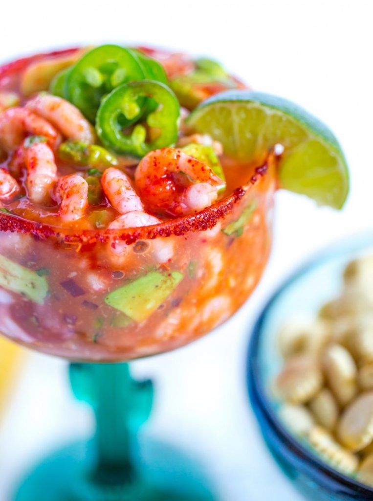 Mexican shrimp cocktail served with oyster crackers.