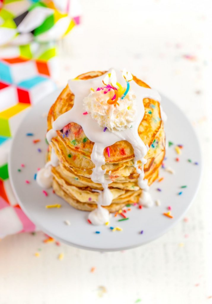 Pancakes from Scratch with sprinkles of colorful funfetti.