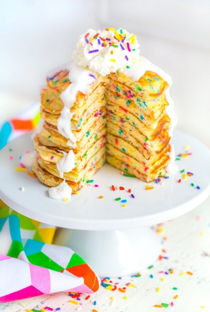 Homemade Pancakes on a cake stand.