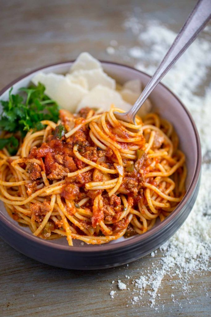 Spaghetti sauce from scratch served with thin spaghetti