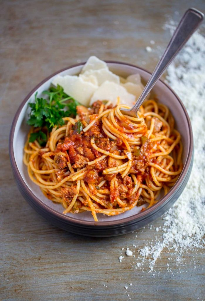 Serving of spaghetti sauce and pasta in a bowl