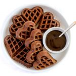 Chocolate Belgian Waffles with chocolate syrup.
