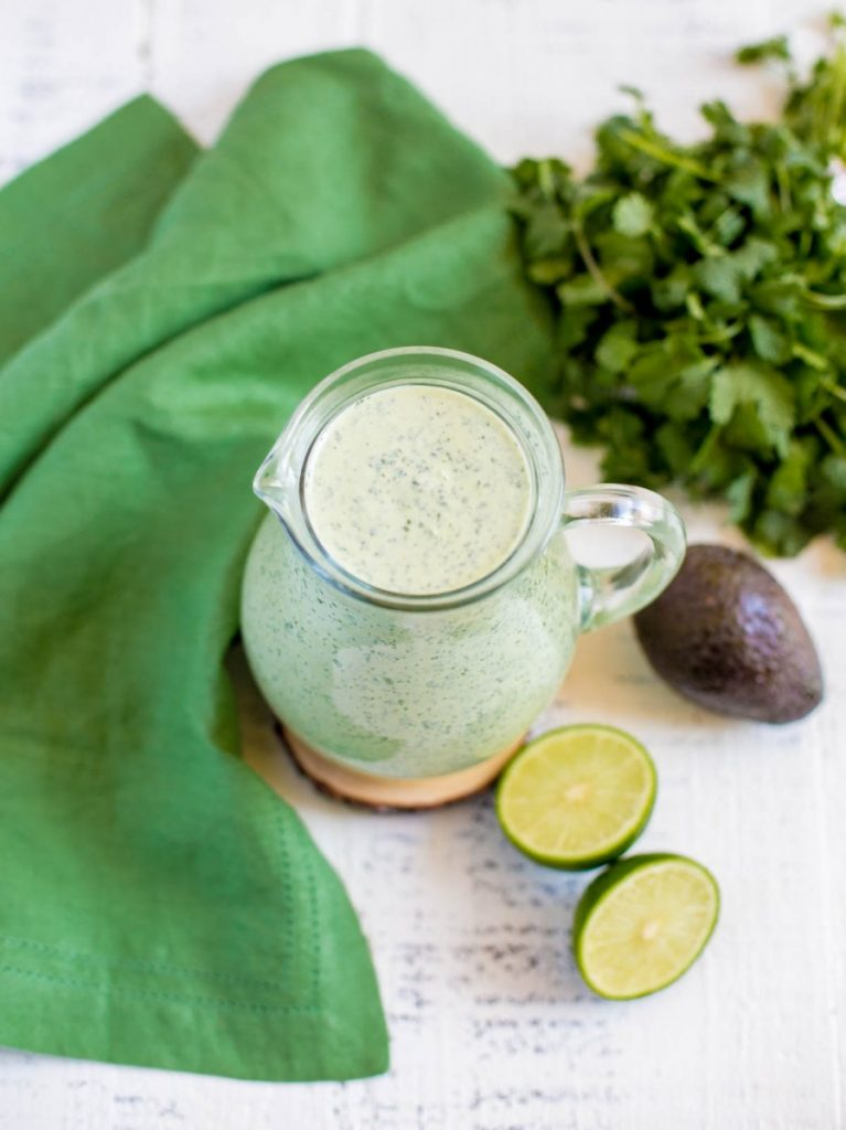 Creamy Mexican salad dressing made with cilantro, avocado and lime juice.