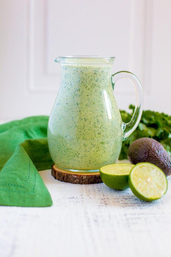 Creamy Avocado Cilantro Lime Dressing made fresh from scratch.
