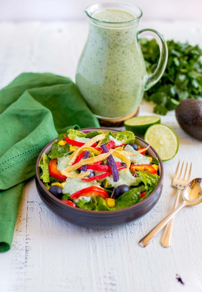 Creamy Cilantro Lime Dressing served over a crisp garden salad.