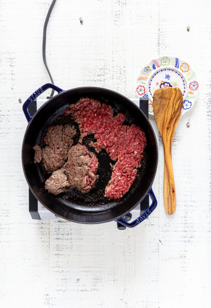 Cooking lean ground beef for Taco Bell crispy ground beef tacos.