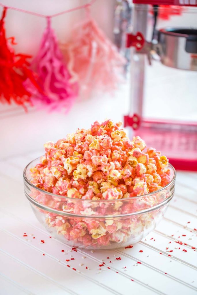 Pink Popcorn with a West Bend popcorn popper.