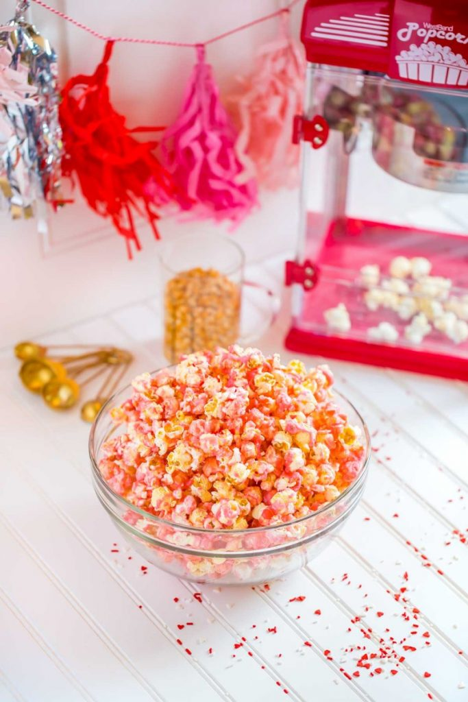 Pink Popcorn recipe with list of kitchen tools.