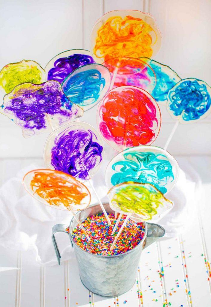 Homemade Swirl Lollipops in vibrant colors.