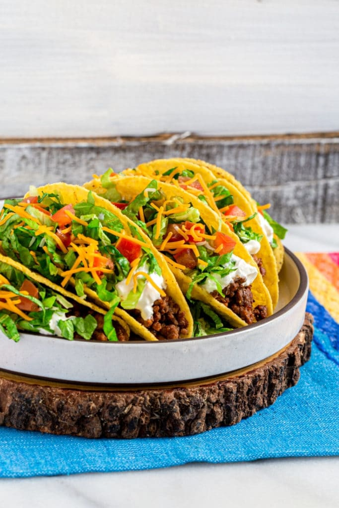 Pinterest graphic for Crunchy Ground Beef Tacos | Taco Bell Copycat Recipe