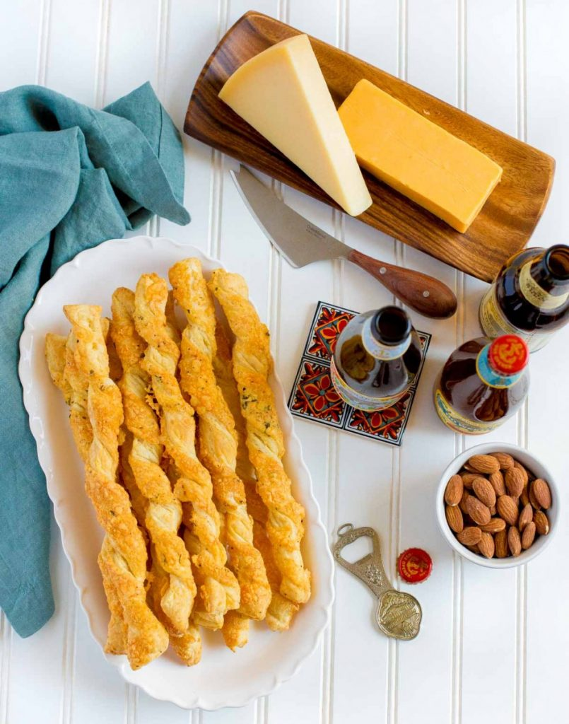 Cheese Straws for an appetizer table.