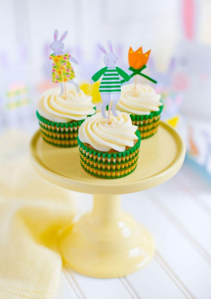 Carrot cake cupcakes with cream cheese frosting with Meri Meri cupcake toppers.