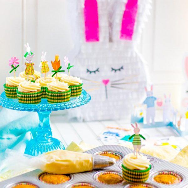 Carrot Cake Cupcakes + DIY Bunny Pinata