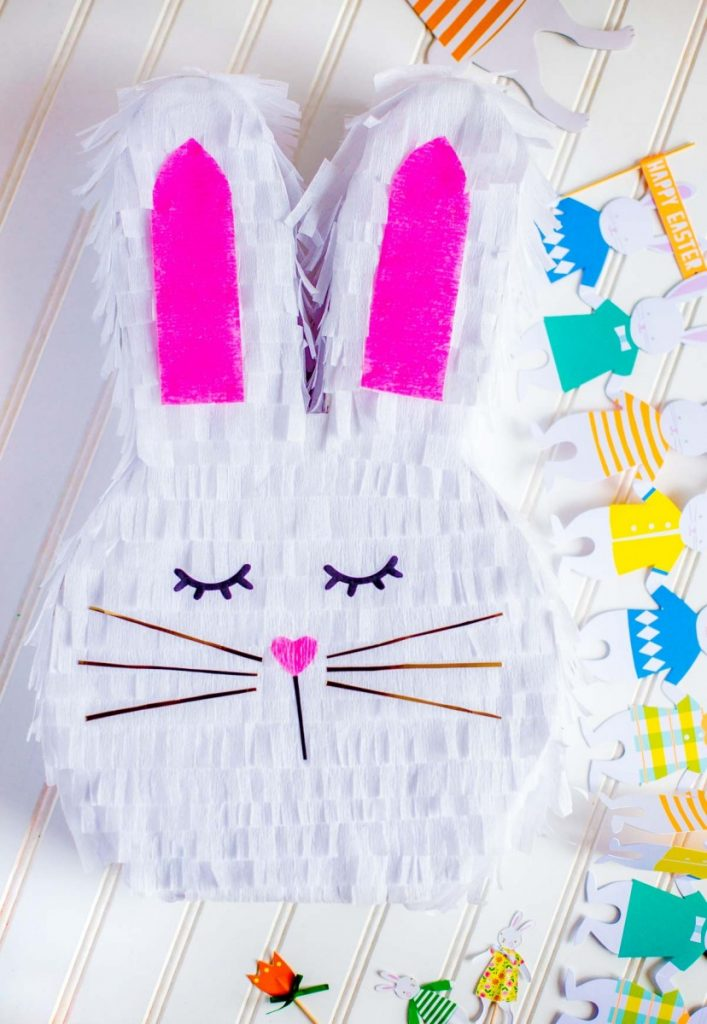 DIY Bunny Pinata with carrot cake cupcakes