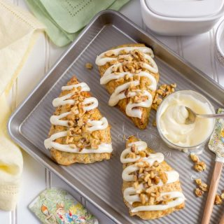 Carrot Cake Scones with yummy cream cheese frosting.