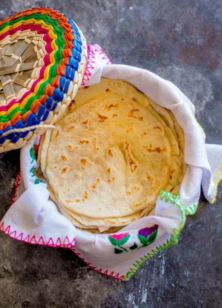 Fresh tortillas in a tortilla basket