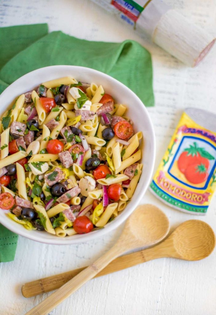 Italian Pasta Salad with zesty homemade Italian dressing.