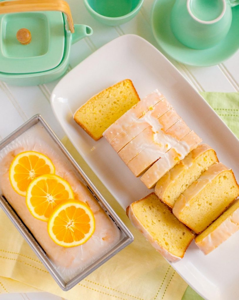 Starbucks Lemon Loaf sliced and served on a platter.