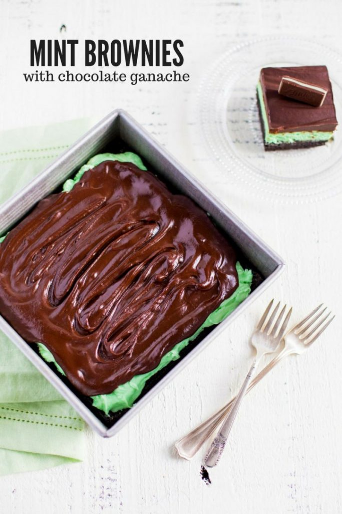 Mint Brownies with Chocolate Ganache