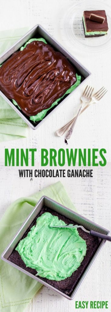 Mint Brownies with Chocolate Ganache