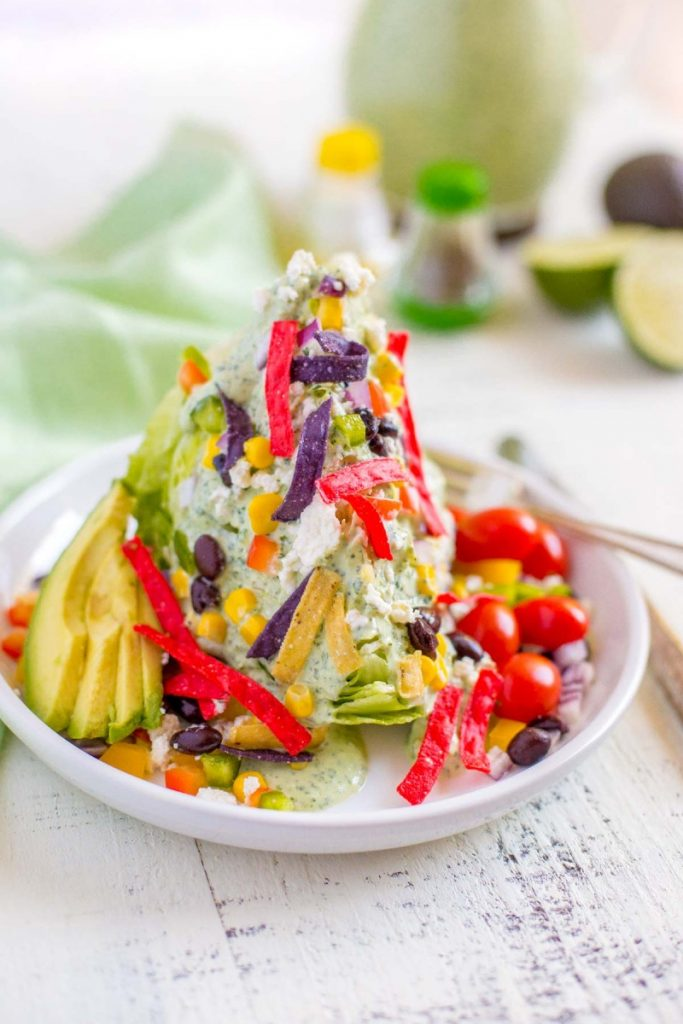 Mexican Wedge Salad with cilantro lime dressing.