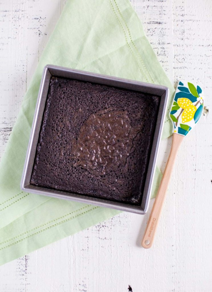 Mint Brownies baked in an 8X8-inch pan.