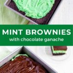 Mint brownies with chocolate ganache in a square baking pan.