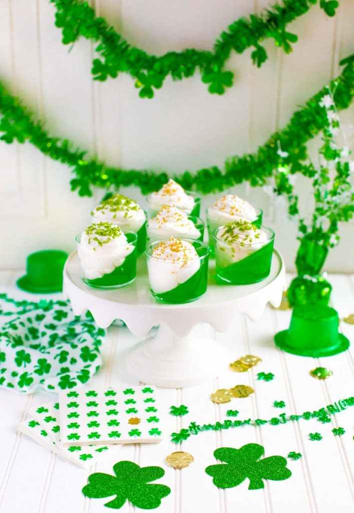 Gelatin Recipe for St. Patrick's Day Jello Cups.