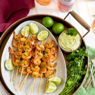 Spicy Grilled Lime Shrimp with Avocado Dipping Sauce