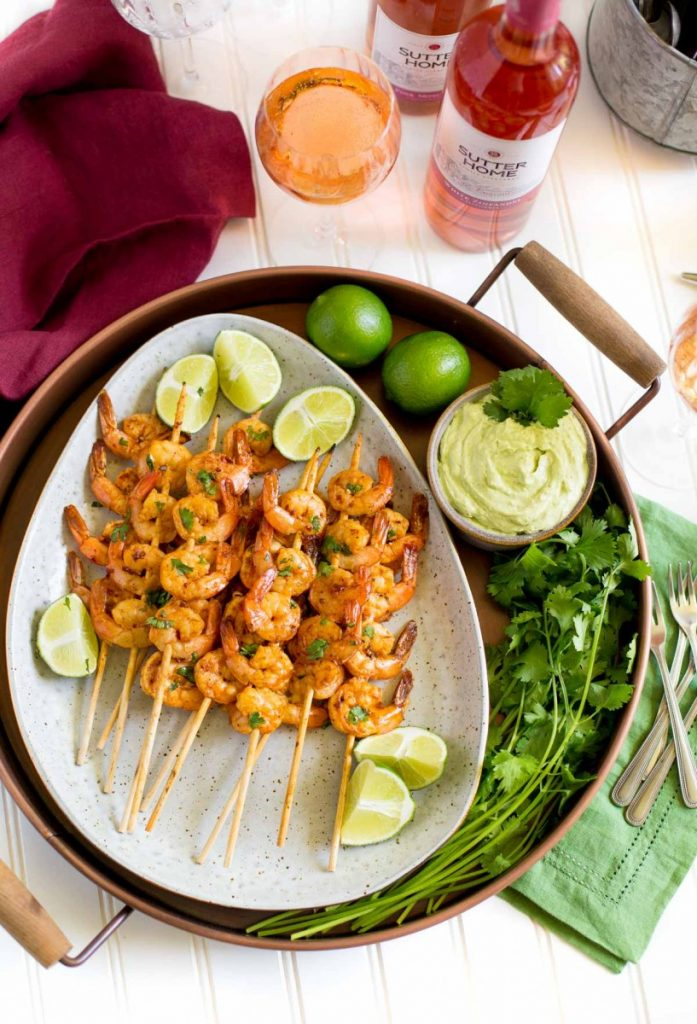 Spicy Grilled Shrimp with Avocado Lime Dipping Sauce