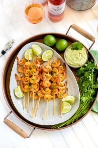 Recipe for Spicy Grilled Shrimp Skewers with Avocado Lime Dipping Sauce