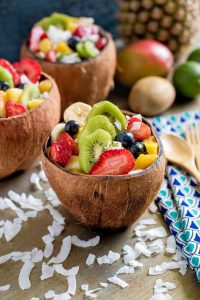 Tropical Fruit Salad served in coconut bowls.