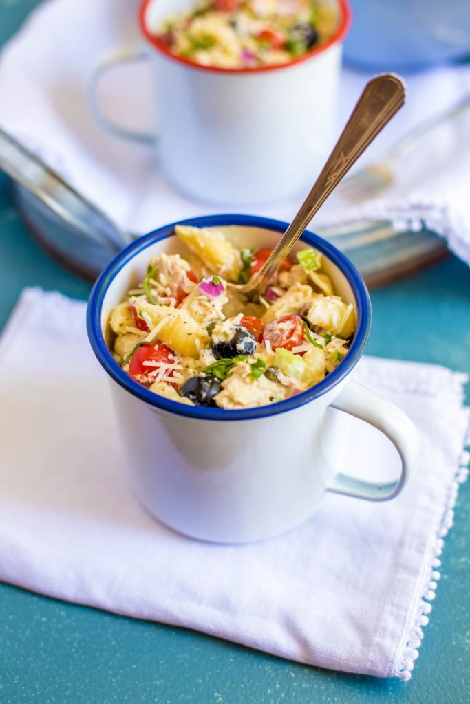 A serving of tuna pasta salad.