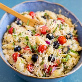 Tuna Pasta Salad with Capers and Colorful Veggies