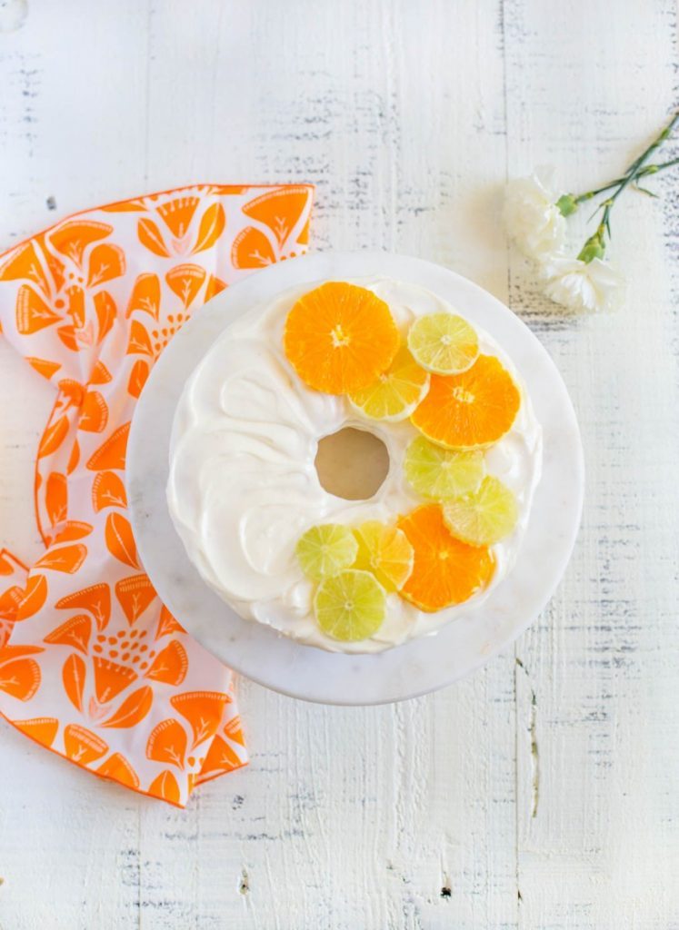 Lemon Angel Food Cake with Citrus Garnishes.